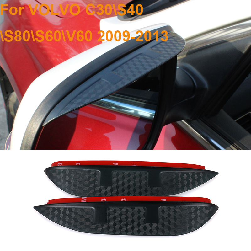 Car Styling Carbon Rearview Mirror Rain Blades Back Mirror Eyebrow Rain Cover Protector For VOLVO C30/S40/S80/S60/V60 2009-2013
