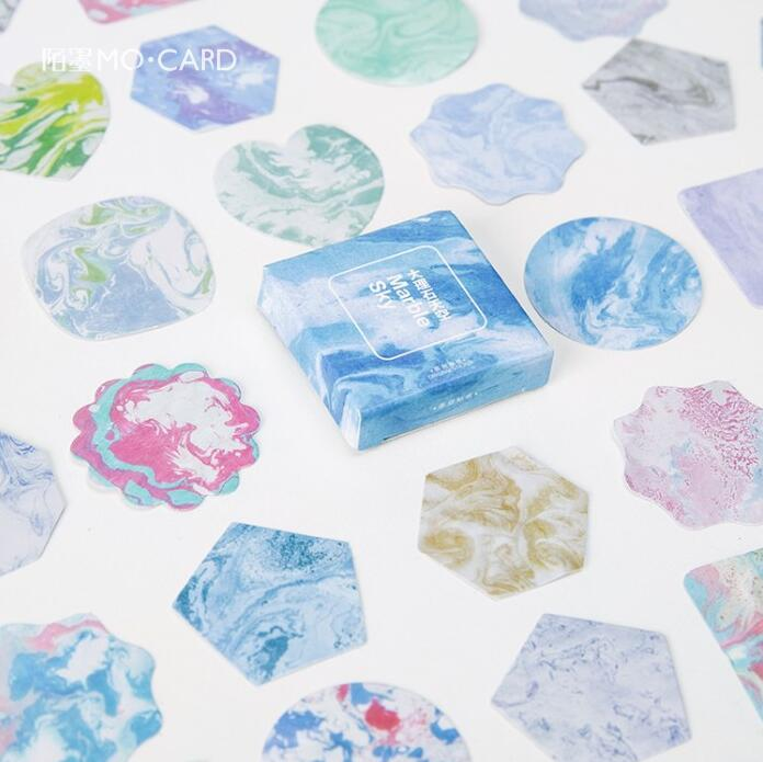 45 Pcs/pack Colorful Marbling Sky Decorative Stickers Adhesive Stickers DIY Decoration Diary Stickers Box Package