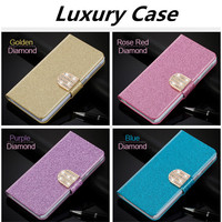 Flip Glitter Case For Apple Ipod Touch 4 4G PU Leather Rhinestone Diamond Butterfly Cover With