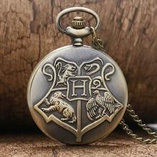 Retro Bronze Hogwarts Theme Quartz Pocket Fob font b Watches b font with Necklace Chain for