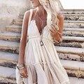 Volantes vestido elegante verano Boho vestido de las mujeres 2019 bohemio sin tirantes sin espalda Sexy, Vestido de playa, vestido de Hippie Plus tamaño vestido de