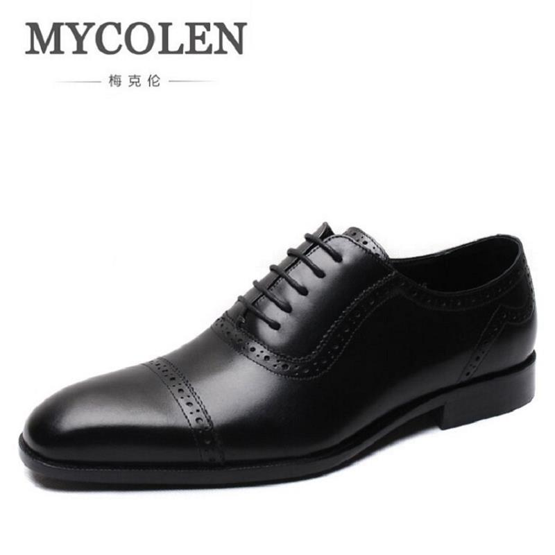MYCOLEN Mens Dress Shoes Office Lace-Up Leather Shoes Men's Party Driving Oxfords Sapato Social Vintage Carved Brogue Flats northmarch men s leather lace up wedding flats luxury mens business office oxfords man dress shoes men sapatos social masculino