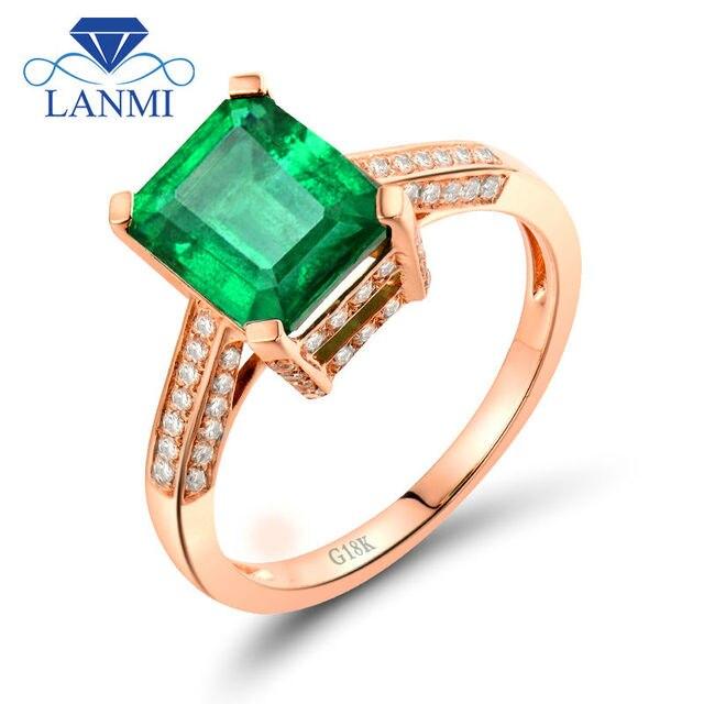 Natural Green Emerald Rings For Women 18K Rose Gold Luxury Design