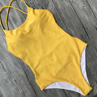 Bikiwave 2019 Sexy croix Bandage dos nu une pièce Maillot De Bain femmes maillots De Bain Sennit brésilien body plage porter Maillot De Bain