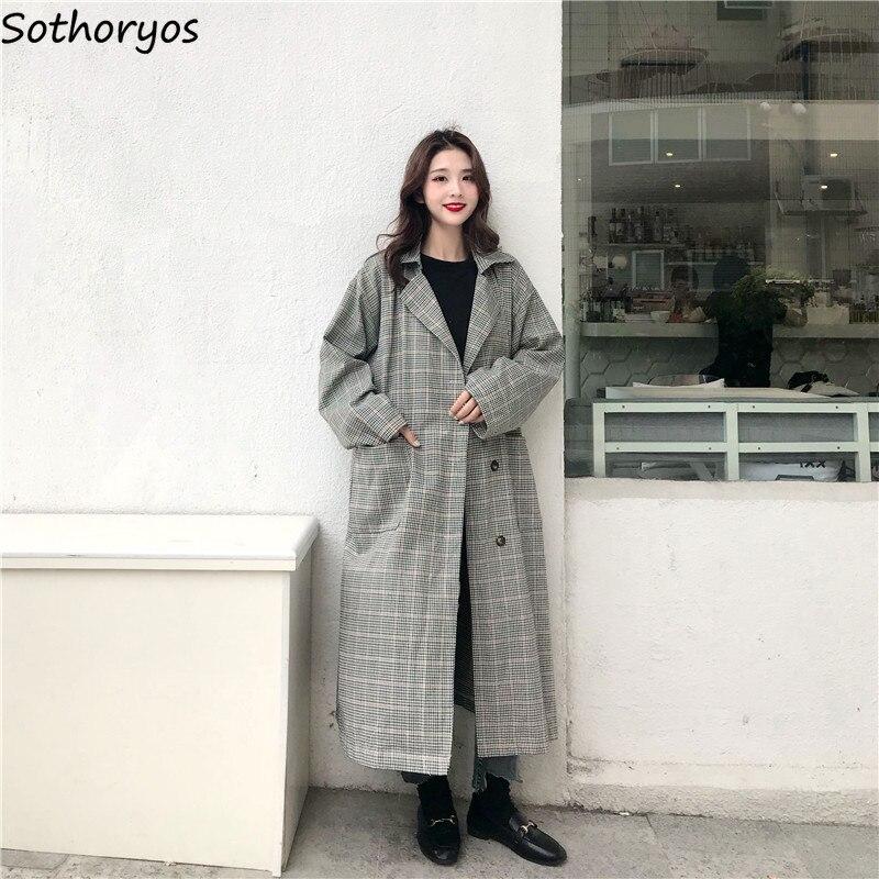 Trench   Women Plaid Long Turn-down Collar Leisure All-match Retro Korean Windbreaker Womens Simple Trendy Elegant Ladies Coats