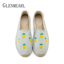 цена на Women Flats Loafers Shoes Casual Spring Fruit Woman Flat Shoes Brand Round Toe Canvas Female Fisherman Shoes Footwear Plus Size