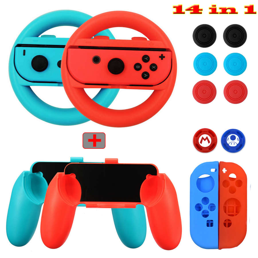 Accessories For Nintend Switch 14 In 1 Kit Set Handle Grips Silicone Case Steer Wheel Analog Caps For Nintendo Switch Joycon