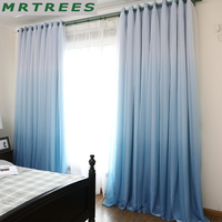 MRTREES Modern blackout curtains for living room bedroom window Solid curtains for cloth curtains+tulle curtains drapes door 3d