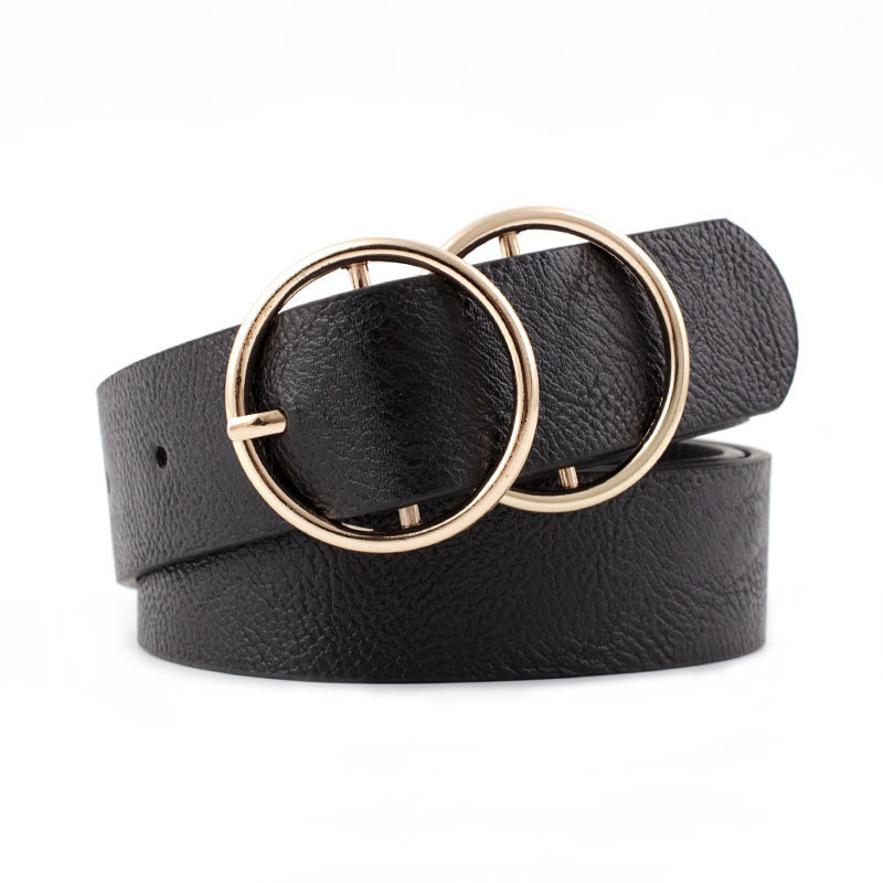 OLOME Vintage Black Leather   Belt   Women White Gold Double Round Buckle Waist   Belts   Female Wide 3.2cm Jeans   Belt   For Ladies