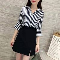New Summer Fashion Women Tracksuit Clothes Female Striped Tops Blouse And Skirts Suits Sets Ladies Two 2 Piece Set Outfits F117
