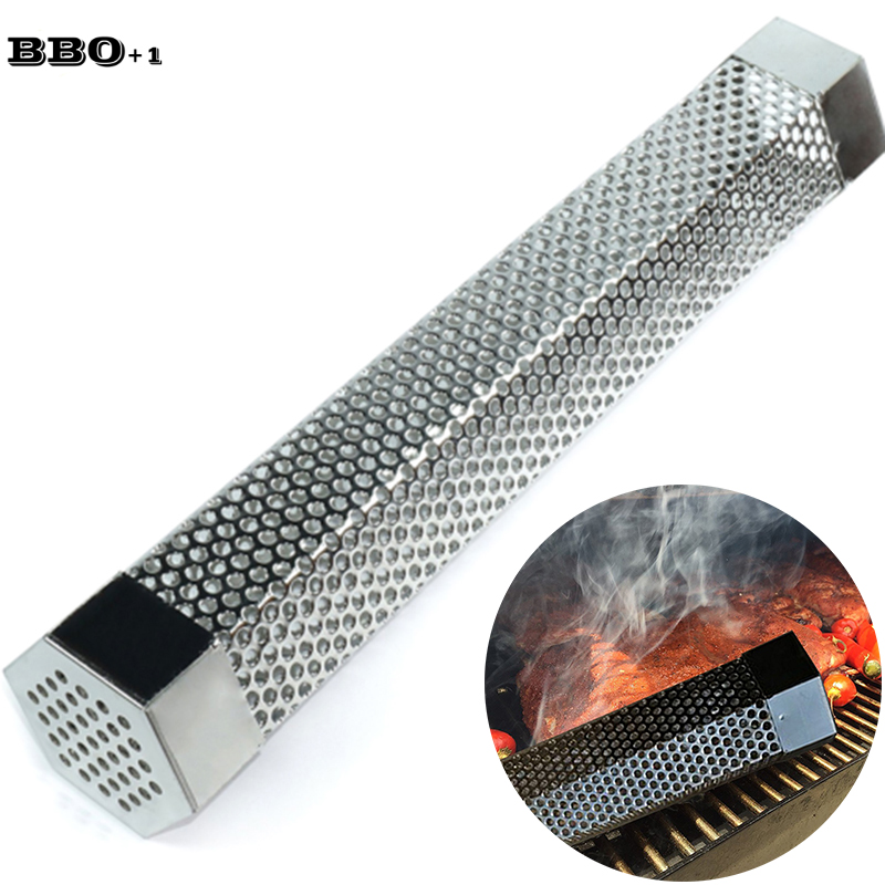 Bbq 12in Cold Smoker Tube Stainless Steel Bbq Grill Smoking Cube Wood Pellet Smoker Kitchen Outdoor Camping Cook Bbq Accessories