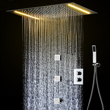 Bathroom Rain Thermostatic Faucets Set LED Warm White Ceiling Rainfall Shower Bath / Wall Mounted 2 inch Body Jets System