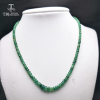 TBJ ,100% Natural Emerald gemstone neacklace with 925 sterling silver clasp ,best gift for mother's day with gift box