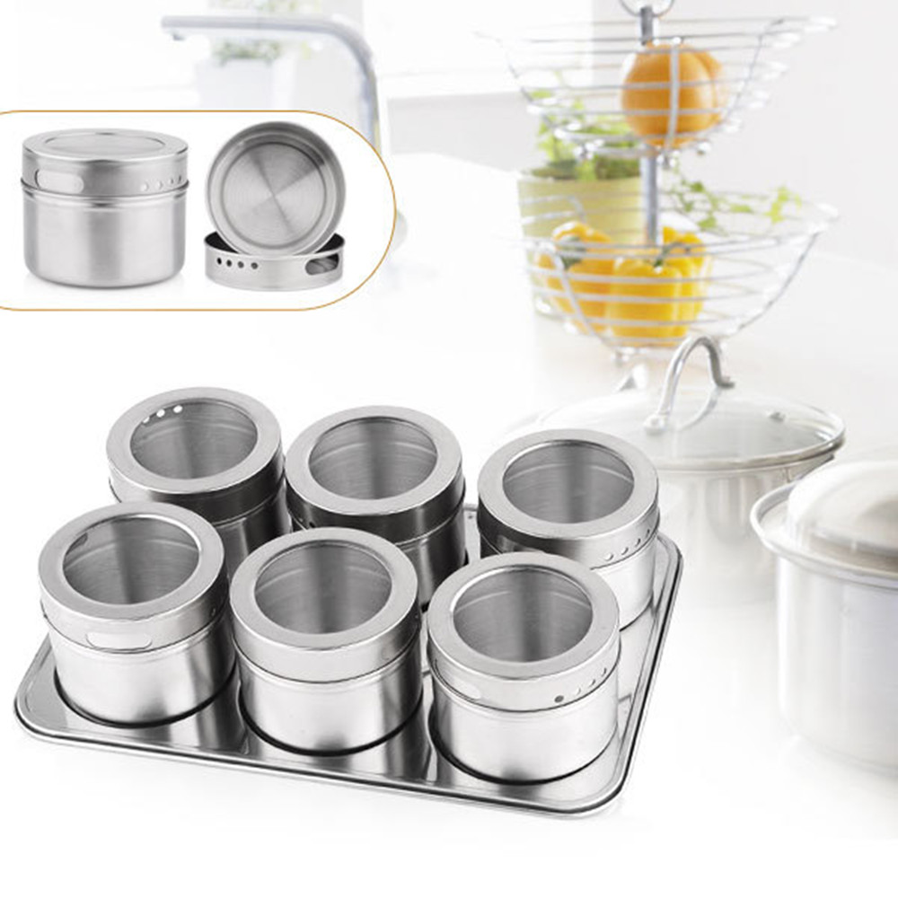 Hot Sale 6pcs Magnetic Spices Jar Storage Set Stainless Steel Condiments  Canister Sauce Bottle Seasoning Containers Tools In Spice U0026 Pepper Shakers  From ...