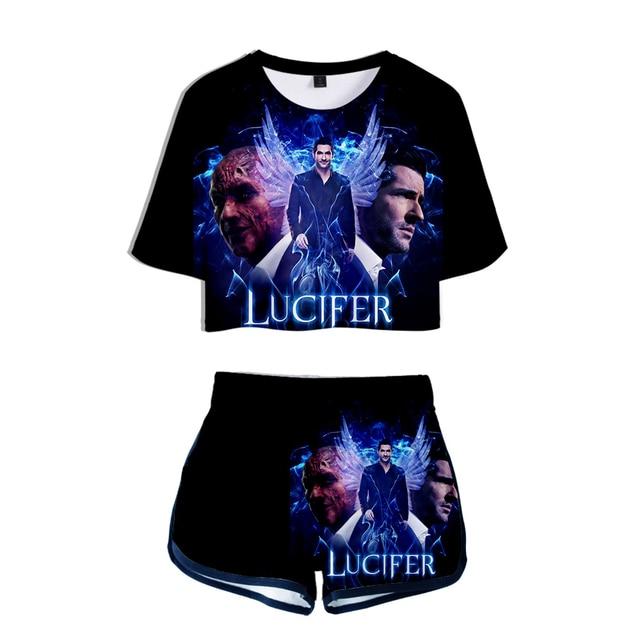 Lucifer 3D Two-piece Sets Cool 2019 New Fashion Women Summer Umbilical Shirt Women's Fashion Casual Cool Summer Fashion Set 1