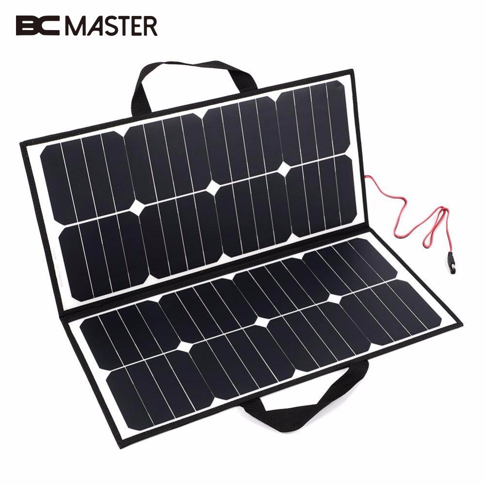 BCMaster 50W 18V Portable Outdoor Foldable Solar Panel Board Solar Power Charger For Battery цена