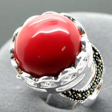 16mm 925 ARGENTO CORALLO ROSSO Bali Handcrafted Ring Size 7/8/9/10(China)