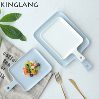 Macaron japonais solide couleur en céramique ménage petit déjeuner plateau plat plats plateau de fruits avec poignée dribble crème Glacée de couleur