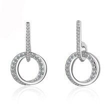 Utimtree Luxury Round Austrian Clear Cubic Zirconia Earrings for Women Fashion 925 Silver Wedding Statement Earrings Jewelry цена в Москве и Питере