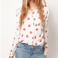Fashion Spring Women Button Down OL Lady Shirt Blouse Collared Chiffon Long Sleeve Kiss Printed Blusa