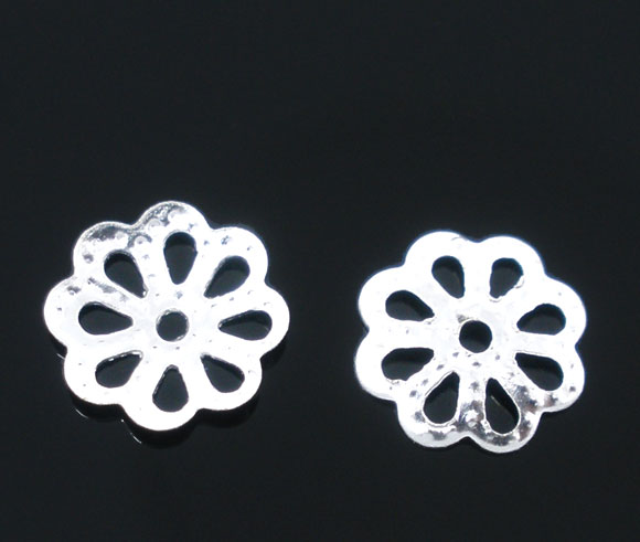 DoreenBeads Alloy Beads Caps Flower Silver Plated (Fits 8mm-16mm Beads) Flower Hollow Pattern 7mm( 2/8