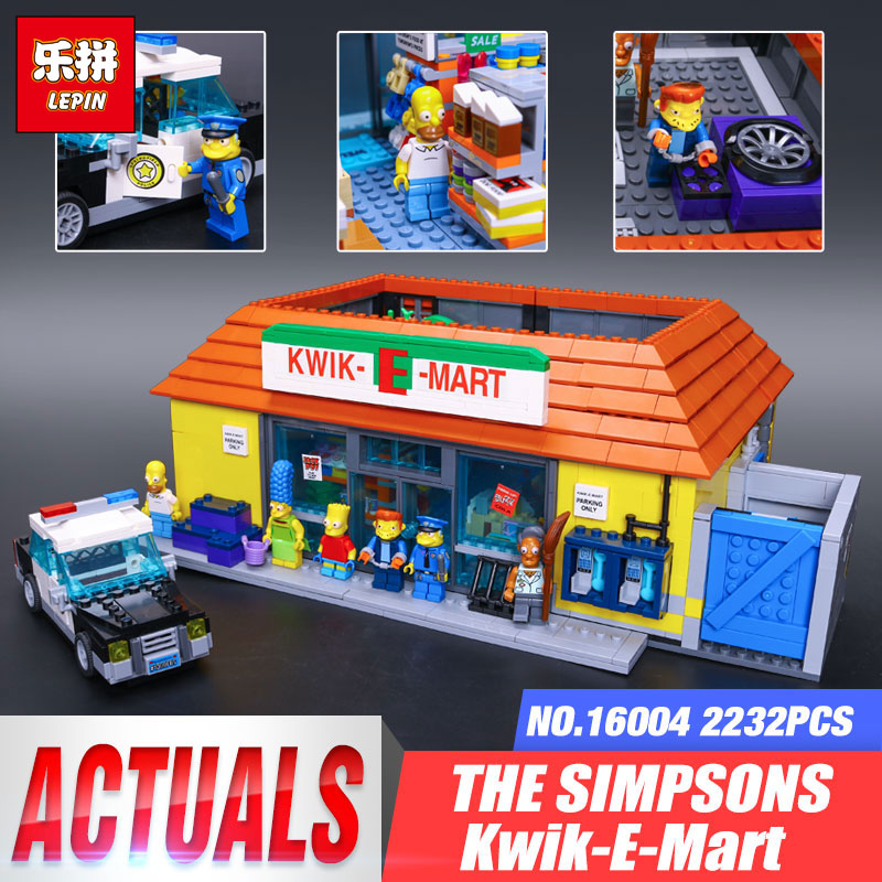 New LEPIN 16004 16005 2232Pcs the Simpsons KWIK-E-MART Action Model Building Block Bricks Compatible LegoINGys 71016 Boy Gift lepin 22001 pirate ship imperial warships model building block briks toys gift 1717pcs compatible legoed 10210