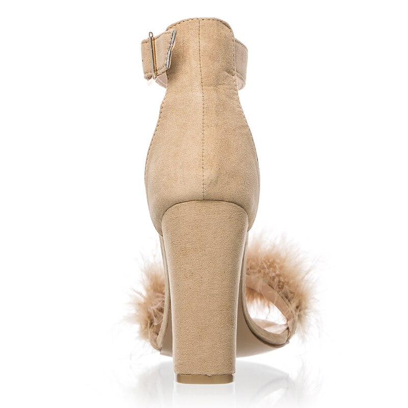 LALA IKAI Women Sandals Shoes Women Suede High Heels Footwear Real Fur Ankle Strap Gladiator Sandals Female Wedding C0759-5