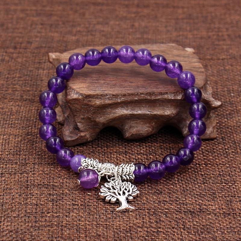 Image 4 - Women Mens Purple Stone Beaded Bracelets Mala Prayer Yoga Beads  Reiki Healing Meditation Tree of Life Pendant Energy BangleCharm  Bracelets