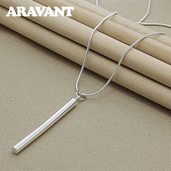 925 Silver Necklaces Jewelry Round Column Pendants Necklace Chains For Women Men Fashion Jewelry