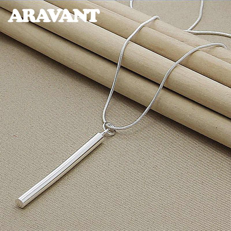 925 Серебрянное ювелирное ожерелье круглая колонна подвески ожерелье цепи для женщин мужчин модные ювелирные изделия