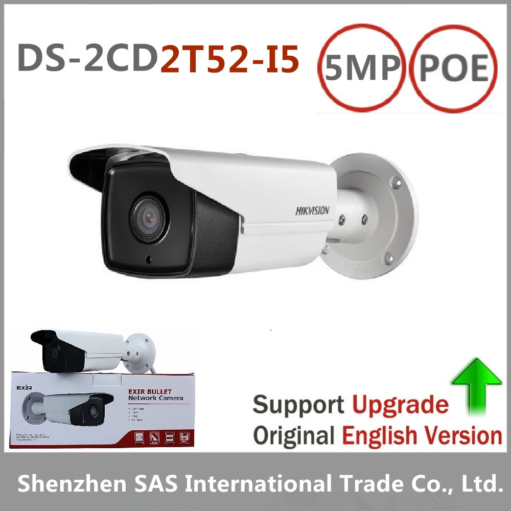 DHL Free shipping Hikvision DS-2CD2T52-I5 English version 5MP network bullet POE cctv security camera with up to 50m IR