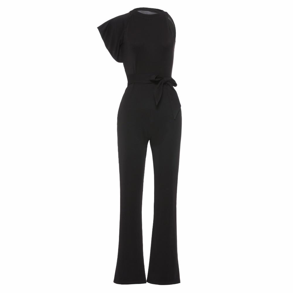 2018 Для женщин Новая мода черный комбинезон летний стиль тонкий сексуальный полный длина офис леди повязки середины талии улица комбинезон