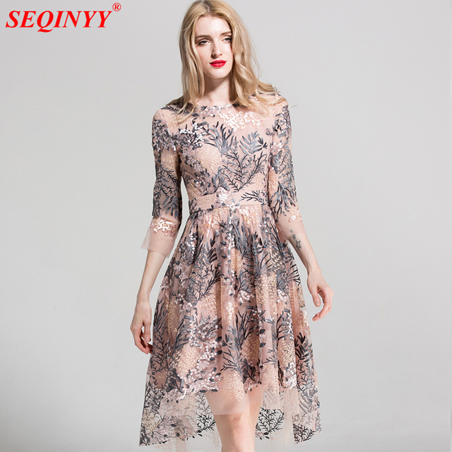 3c902314f5f71 SEQINYY Embroidery Dress Flowers Mash High Quality Fashion Runway Women's  2018 Spring Summer Half Sleve Ball Gown Dress -in Dresses from Women's ...