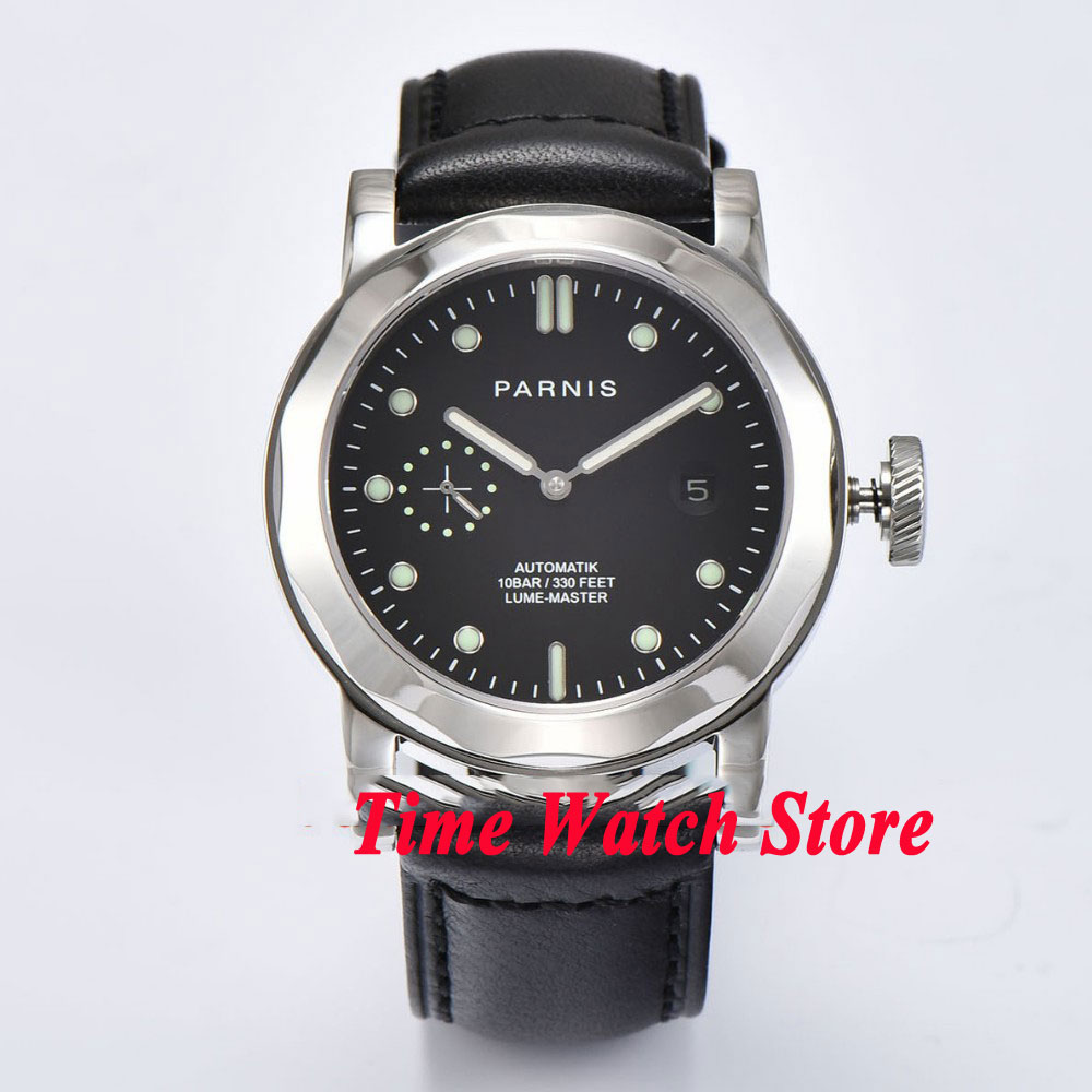 44mm Parnis mens watch 706 black dial sapphire glass STl Automatic movement