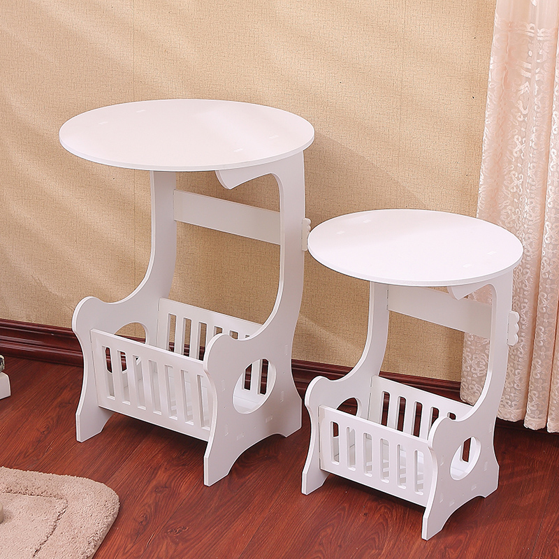 European Style Wood-Plastic Round Coffee Table Multifunction Modern Coffee Table Installation& Waterpoof Storage Rack modern coffee table european simple living room small table bedside cabinet storage rack wood plastic white coffee table
