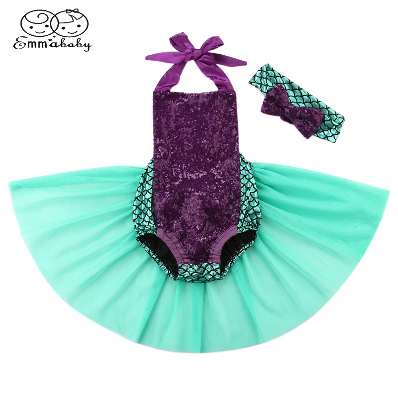 Emmababy Sequin Mermaid Toddler Baby Girls Lace Tutu Romper Sunsuit Clothes Costume+Headband Sets