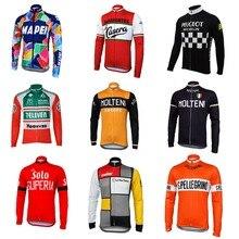 Molteni แขนยาวขี่จักรยาน JERSEY ฤดูหนาวขนแกะผ้าขนสัตว์และไม่มีขนแกะสีแดงสีเขียว ORANGE จักรยานสวมใส่ฤดูใบไม้ร่วงจักรยานเสื้อผ้า braetan