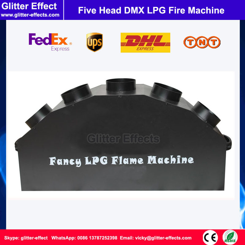 DMX 512 5 head LPG flame projector Stage performance show Effect five jet spray fire machine with flightcase for nigh club
