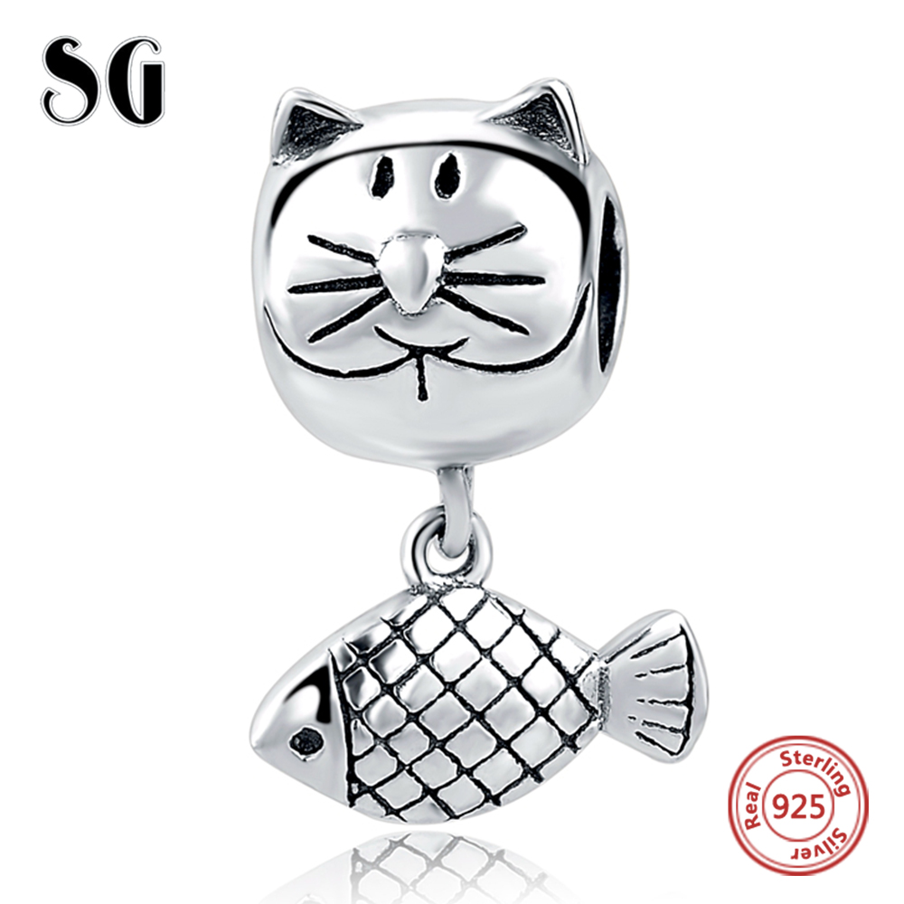 2018 Cat&Fish Charms Fit Authentic Pandora Charms Bracelet Silver 925 Original Beads For Women Sterling Silver Berloque Jewelry