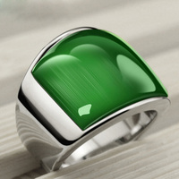 USTYLE New Fashion Rings Punk 361L Stainless Steel Vintage Rings With Green Opal Rings For Party