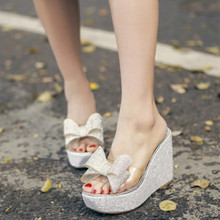 Transparent Bowtie Crystal High Heel Slippers Women Shoes With Rhinestones Wedge Sandals Platform Sandal Women