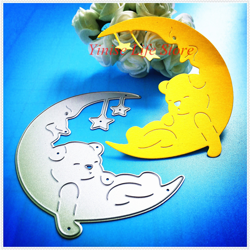 YLCD448 Crescent Bear Metal Cutting Dies For Scrapbooking Stencils DIY Album Cards Decoration Embossing Folder Die Cuts Template