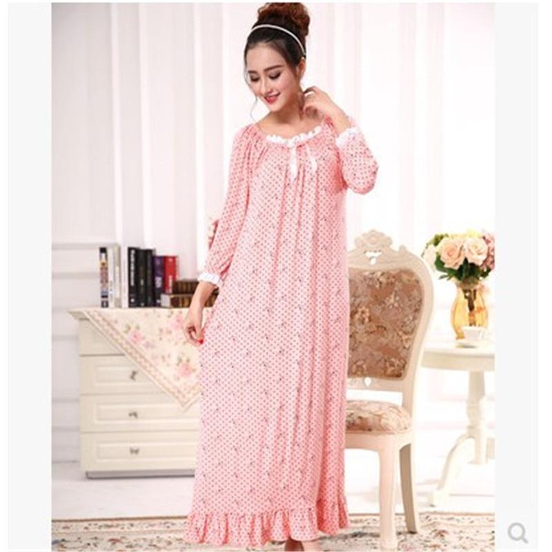 New Long font b Nightgown b font Spring Autumn Cotton Modal Ultra Long font b Nightgown