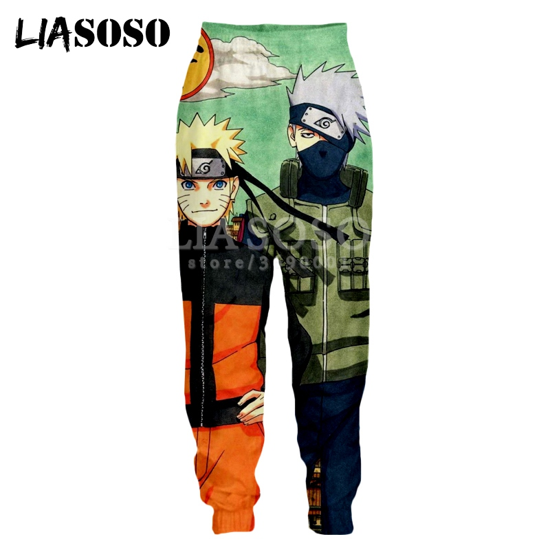 LIASOSO 3d Print Men Women Sweatpants Japan Anime Naruto Uchiha Sasuke Kakashi Hatake Casual Sweat Pants Joggers Pants X1139