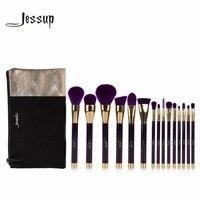 Jessup 15pcs Beauty Makeup Brushes Set Brush Tool Purple And Darkviolet T114 Cosmetics Bags Women Bag