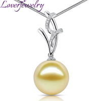 Real 18K White Gold 13ct Freshwater Pearl Pendant Necklace Loverjewelry Diamond Pendants for Girl