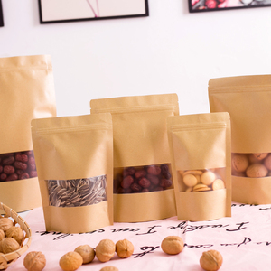Image 4 - Wholesale Stand up Kraft Paper Frosted Window Zip Bags Doypack Sugar Biscuit Nuts Chocolate Coffee Self Sealing Packaging Bags