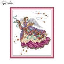 Joy Sunday Purple Angel Stamped Cross Stitch Embroidery Kit DMC Stitching Threads Aida Printed Canvas DIY Hand Needlework