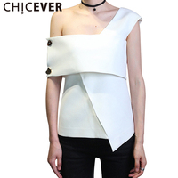 CHICEVER Summer Sleeveless Irregular Female T Shirts For Women Tops 2017 Black Sexy Off Shouler Clothes