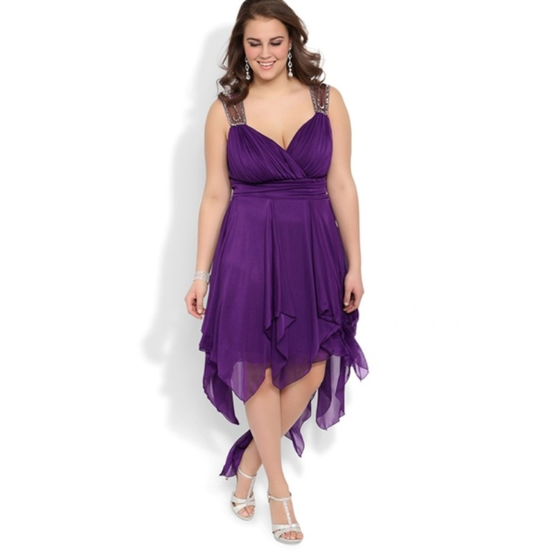 Free Shipping Plus Size High Low Prom Dresses Purple With Illusion